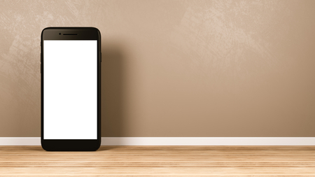 Standing Smartphone with White Blank Screen in the Room 3D Illustration, Front View