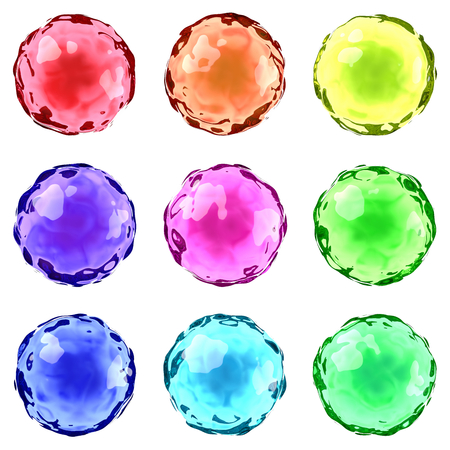 Set of Colorful Jelly Drops Isolated on White Background