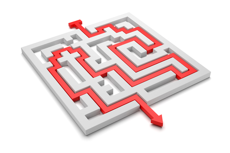 Red Arrow Coming Out of a Labyrinth 3D Illustration on White Background