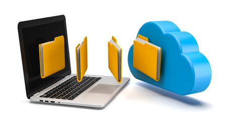 Laptop Computer Transferring Data to a Blue Cloud 3D Illustration on White Background