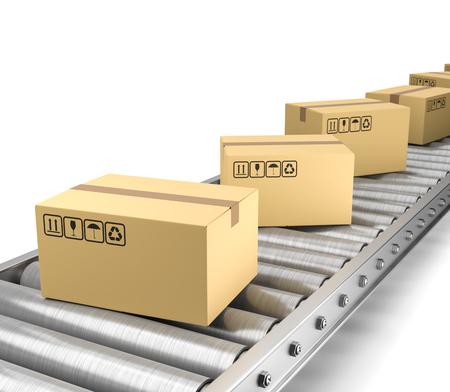 Cardboard Box on Conveyor Belt 3D Illustration on White Background