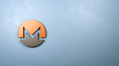 Monero Symbol Shape Against Blue Wall with Copy Space 3D Illustration