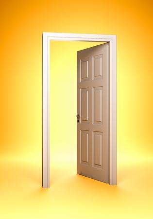 Open White Door on Orange Yellow Background 3D Render