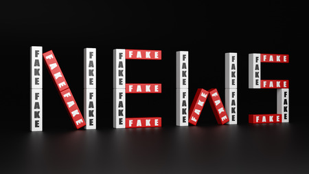 Red and White Fake Bricks Forming News Text Word on Dark Background 3D Illustration Stock Photo