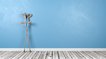 Crutches in the Room with Wooden Floor and Blue Wall with Copy Space 3D Illustration