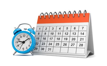 Orange and White Desk Calendar with Blue Alarm Clock on White Background 3D Illustration Stock fotó