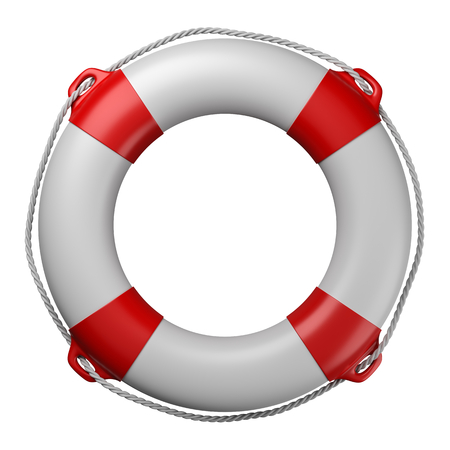 Lifebuoy Isolated on White Background 3D Illustration Banco de Imagens