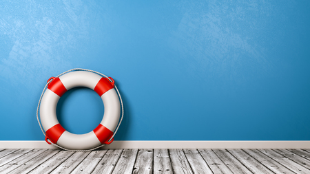 Lifebuoy on Wooden Floor Against Blue Wall with Copy Space 3D Render