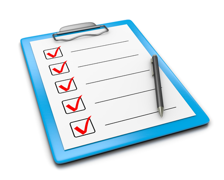 Blue Clipboard with Checklist Paper and a Black Ball-point Pen on White Background 3D Illustration