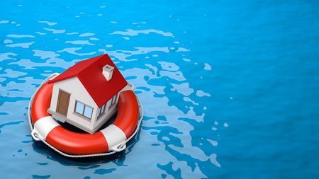 House on a Lifebuoy in the Sea 3D Illustration with Copyspace