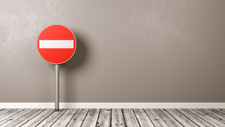 Access Denied Road Sign on Wooden Floor Against Grey Wall with Copyspace 3D Illustration