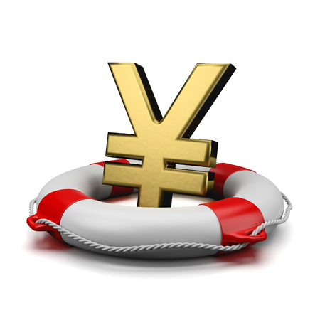 Gold Yen or Yuan Currency Symbol Shape on a Lifebuoy on White Background 3D Illustration