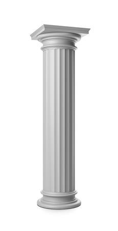 Single Greek Column on White Background 3D Render