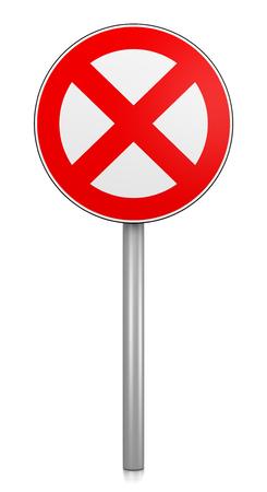 Prohibition Road Sign on White Background 3D Illustration Stock Photo