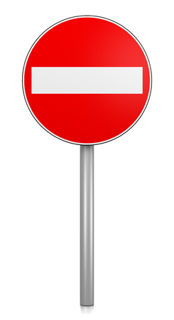 Access Denied Road Sign on White Background 3D Illustration
