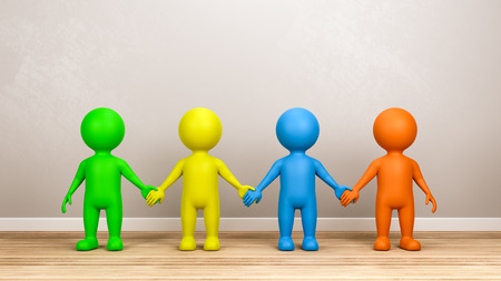 Four Multicolor Human 3D Characters Holding Hands on Wooden Floor in a Gray Wall Room 3D Render
