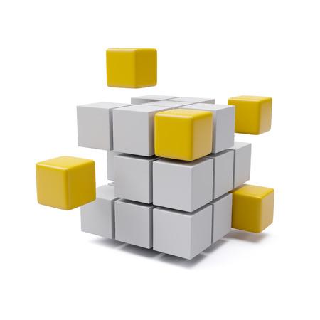 Combining Orange Cubes Building Project Concept 3d illustration