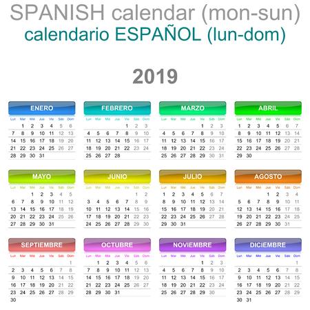 Bunte Montag bis Sonntag 2019 Kalender Spanisch Sprachversion Illustration Vektorgrafik