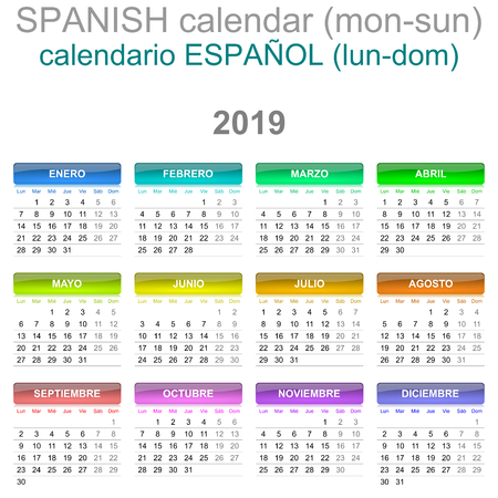 Colorful Monday to Sunday 2019 Calendar Spanish Language Version Illustration