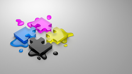 CMYK Four Colors Glassy Puzzle Pieces Combined with Ink Stains on Gray Background with Copy Space 3D Illustration,  Four-Color Process Concept
