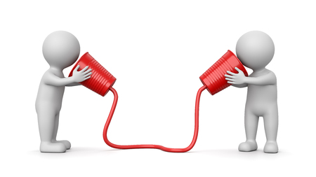 Two White 3D Characters Communicating with Plastic Cup Phone 3D Illustration on White Background