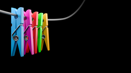 Colorful Clothespins with Copyspace on Black Background 3D Illustration