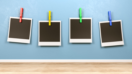 Four Empty Picture Frames Old Style Instant Photo with Colorful Clothespin Against Blue Wall in the Room 3D Illustration Stock Photo