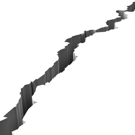 Grieta en la superficie blanca Ilustración 3D