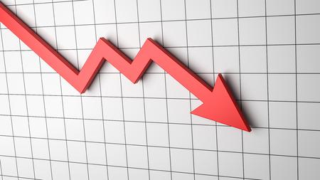 Falling Red Arrow Chart on White Background 3D Illustration Stock Illustration - 108294636