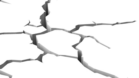 Crack in White Surface 3D Illustration Banco de Imagens