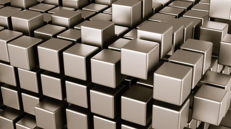 Metallic Cubes Aggregation Abstract Background 3D Illustration