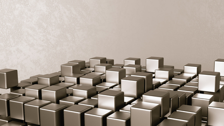 Cubes Aggregation on Grey Abstract Background with Copyspace 3D Illustration