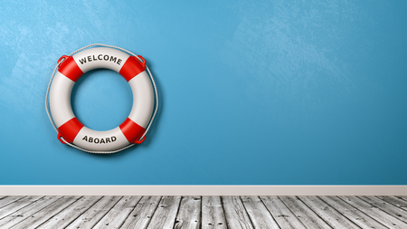 Lifebuoy with Welcome Aboard Text in a Blue Wall Room with Copy Space 3D Render