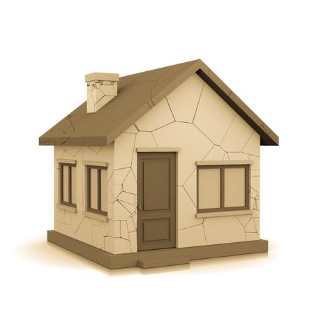 3D House with Cracks on White Background Illustration