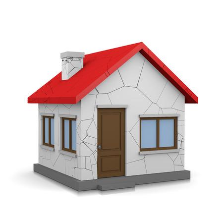 White 3D House with Cracks on White Background Illustration