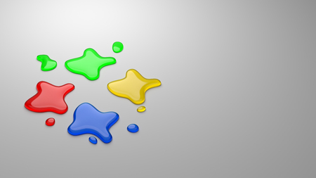 Four Colors Ink Drops on Gray Background with Copyspace 3D Illustration