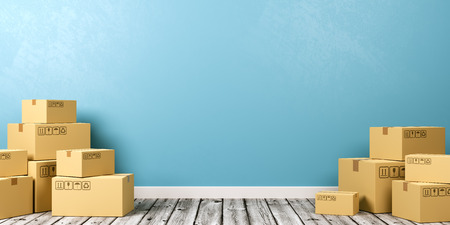 Heaps of Closed Cardboard Boxes on Wooden Floor Against Blue Wall with Copyspace 3D Illustration Stock Photo