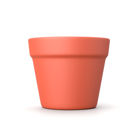 One Single Earthenware Empty Flowerpot Isolated on White Background 3D Illustration Фото со стока