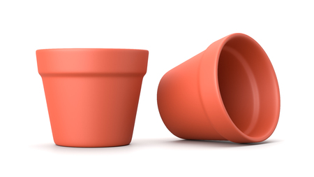 Earthenware Empty Flowerpot Isolated on White Background 3D Illustration