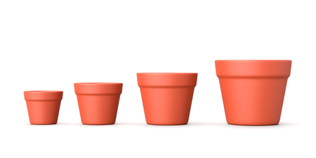 Set of Four, Increasing Size, Earthenware Empty Flowerpot Isolated on White Background 3D Illustration Stock Photo