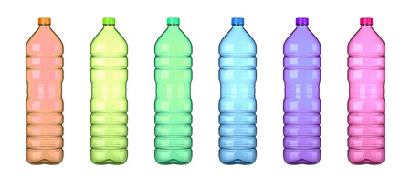 Colored Transparent Plastic Empty Bottle Collection Isolated on White Background 3D Illustration