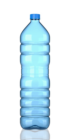 One Single Empty Transparent Blue Plastic Water Bottle on White Background 3D Illustration