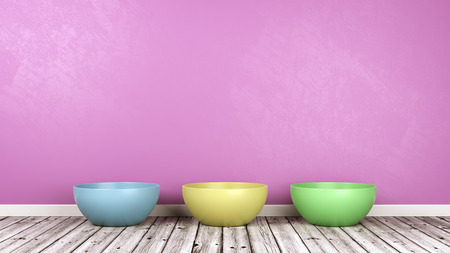 Three Colorful Bowl on Wooden Floor Against Purple Wall with Copy Space 3D Illustration Banco de Imagens