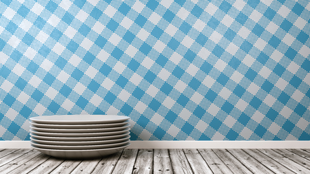 Stack of White Ceramic Dishes on Wooden Floor Against Table Cloth Style Blue Wall with Copy Space 3D Illustration