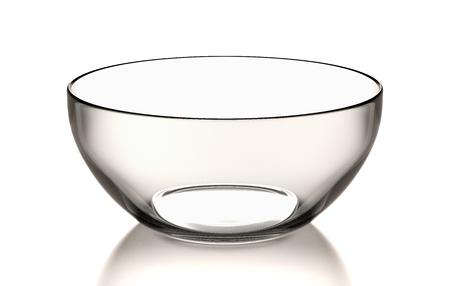 One Single Empty Transparent Glass Bowl on White Background 3D Illustration