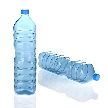 Two Empty Transparent Blue Plastic Water Bottles on White Background 3D Illustration