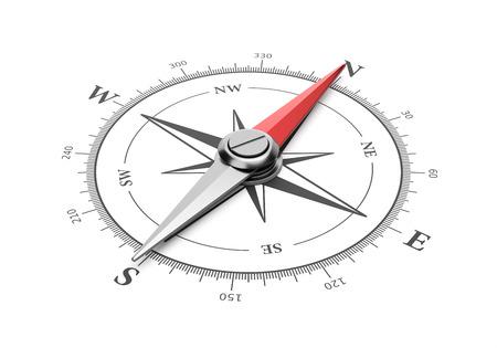Brújula con aguja magnética roja apuntando hacia el norte sobre fondo blanco Ilustración 3D