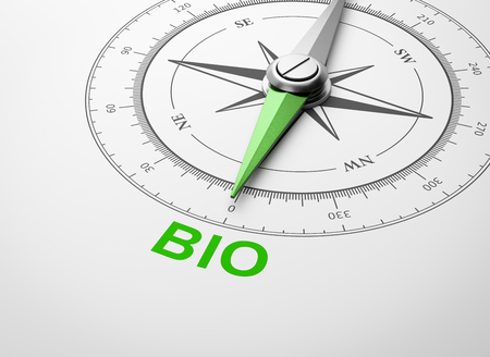Magnetic Compass with Needle Pointing Green Bio Word on White Background 3D Illustration