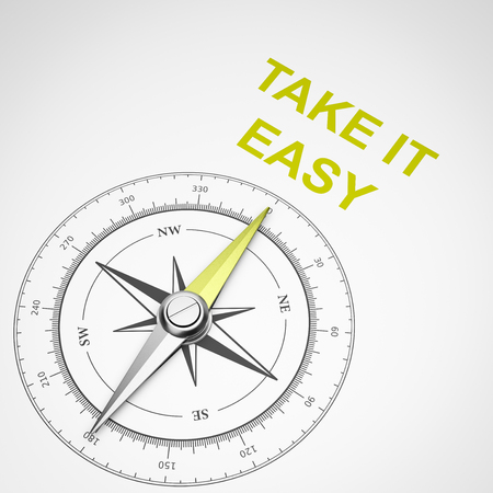 Magnetic Compass with Needle Pointing Yellow Take It Easy Text on White Background 3D Illustration