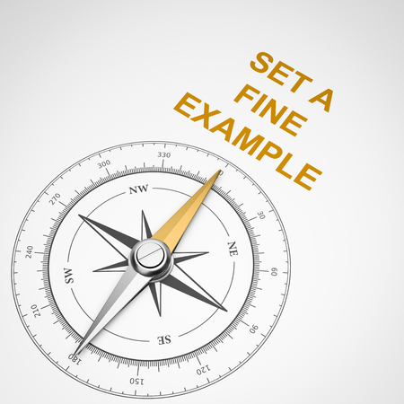Magnetic Compass with Needle Pointing Orange Set a Fine Example Text on White Background 3D Illustration